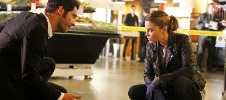 """LUCIFER: L-R: Tom Ellis and Lauren German in the """"Pops"""" episode of LUCIFER airing Monday, March 28 (9:01-10:00 PM ET/PT) on FOX. ©2016 Fox Broadcasting Co. CR:Bettina Strauss/FOX"""