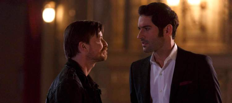 """LUCIFER: L-R: Guest star Kevin Rankin and Tom Ellis in the """"#TeamLucifer"""" episode of LUCIFER airing Monday, April 18 (9:01-10:00 PM ET/PT) on FOX. ©2016 Fox Broadcasting Co. CR: Michael Courtney/FOX"""