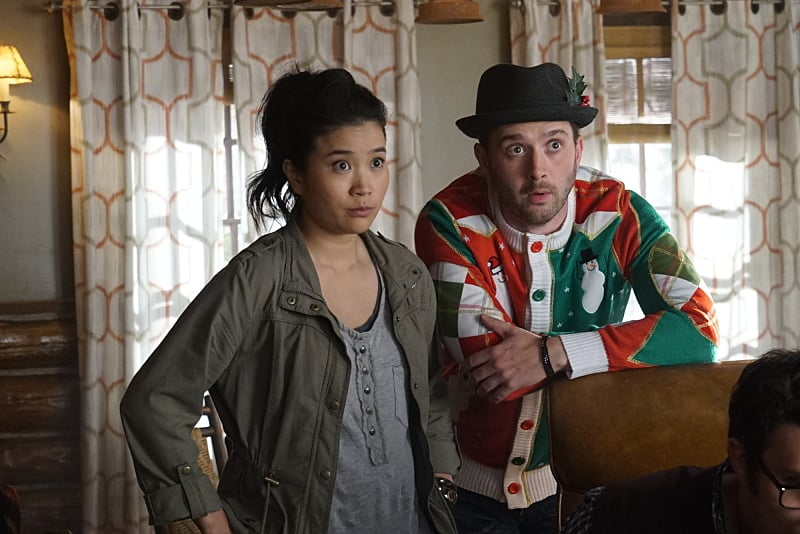"""Wreck the Halls"" -- It's Christmas Eve and Team Scorpion's electronics-free mountain getaway turns deadly when they come across gun-runners, and Ralph is kidnapped when they try to escape. Also, Tim makes an important decision about his position with Team Scorpion, on SCORPION, Monday, Dec. 19 (10:00-11:00 PM, ET/PT) on the CBS Television Network. Pictured: Jadyn Wong, Eddie Kaye Thomas. Photo: Monty Brinton/CBS ©2016 CBS Broadcasting, Inc. All Rights Reserved"