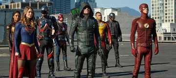 "DC's Legends of Tomorrow --""Invasion!""-- Image LGN207a_0021.jpg -- Pictured (L-R): Maisie Richardson- Sellers as Amaya Jiwe/Vixen, Melissa Benoist as Kara/Supergirl, Brandon Routh as Ray Palmer/Atom, Nick Zano as Nate Heywood/Steel, Stephen Amell as Green Arrow, Franz Drameh as Jefferson ""Jax"" Jackson, David Ramsey as John Diggle and Grant Gustin as The Flash -- Photo: Bettina Strauss/The CW -- © 2016 The CW Network, LLC. All Rights Reserved."