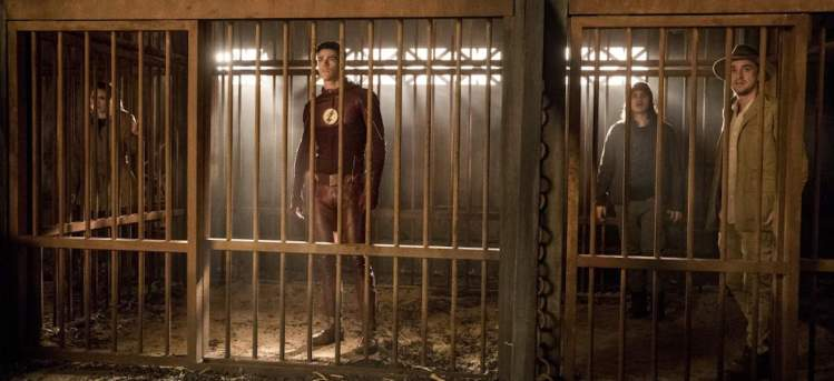 "The Flash -- ""Attack on Gorilla City"" -- FLA313d_0437b.jpg -- Pictured (L-R): Danielle Panabaker as Caitlin Snow, Grant Gustin as Barry Allen, Carlos Valdes as Cisco Ramon and Tom Felton as Julian Albert -- Photo: Jack Rowand/The CW -- © 2017 The CW Network, LLC. All rights reserved."