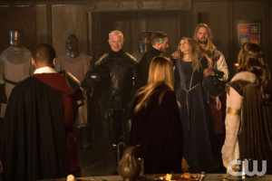 """DC's Legends of Tomorrow --""""Camelot/3000""""-- LGN212b_0504.jpg -- Pictured (L-R): Neal McDonough as Damien Darhk, Arthur Darvill as Rip Hunter, Sarah Grey as Stargirl and Nils Hognestad as King Arthur -- Photo: Jack Rowand/The CW -- © 2017 The CW Network, LLC. All Rights Reserved"""
