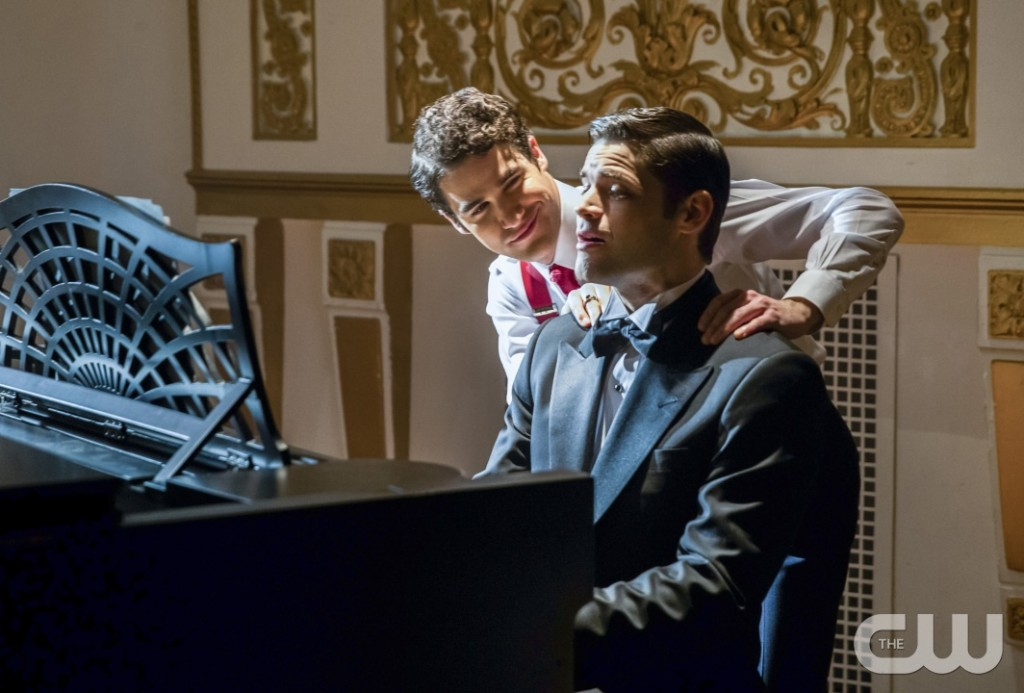 "The Flash -- ""Duet"" -- FLA317b_0521b.jpg -- Pictured (L-R): Darren Criss as Music Meister and Jeremy Jordan as Winn Schott -- Photo: Jack Rowand/The CW -- © 2017 The CW Network, LLC. All rights reserved."