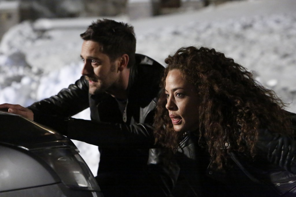 """THE BLACKLIST: REDEMPTION -- """"Independence, U.S.A."""" Episode 102 -- Pictured: (l-r) Ryan Eggold as Tom Keen, Tawny Cypress as Nez Rowan -- (Photo by: Will Hart/NBC)"""