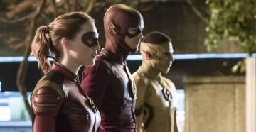 "The Flash -- ""Attack on Central City"" -- FLA314a_0088b.jpg -- Pictured (L-R): Violett Beane as Jesse Quick, Grant Gustin as The Flash and Keiynan Lonsdale as Kid Flash -- Photo: Katie Yu/The CW -- © 2017 The CW Network, LLC. All rights reserved."