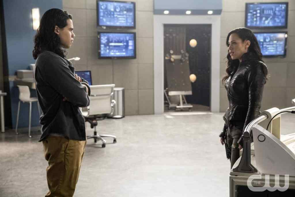 """The Flash -- """" Abra Kadabra"""" -- FLA318a_0130b.jpg -- Pictured (L-R): Carlos Valdes as Cisco Ramon and Jessica Camacho as Gypsy -- Photo: Jack Rowand/The CW -- © 2017 The CW Network, LLC. All rights reserved."""