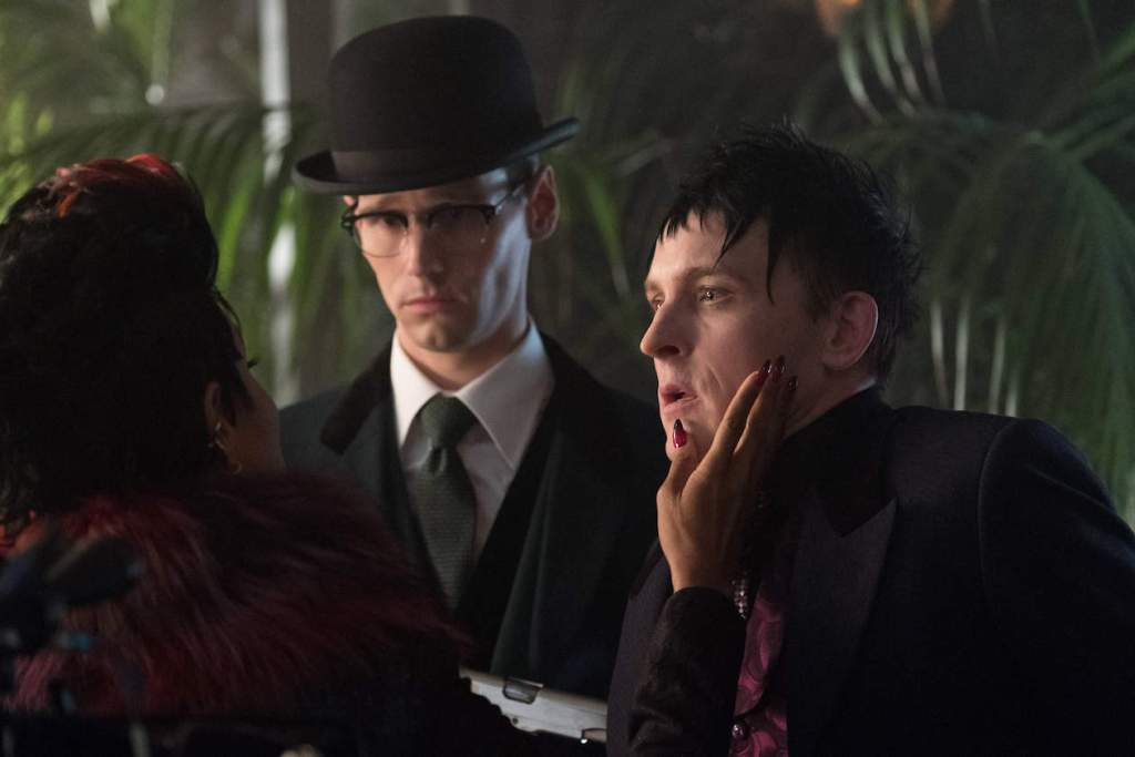 "GOTHAM: L-R: Jada Pinkett Smith, Cory Michael Smith and Robin Lord Taylor in the ""Heroes Rise: Pretty Hate Machine"" episode of GOTHAM airing Monday, May 29 (8:00-9:01 PM ET/PT) on FOX. Cr: Jessica Miglio/FOX"