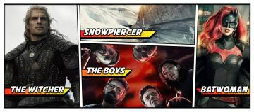 Collage of The Witcher, Snowpiercer, The Boys and Batwoman