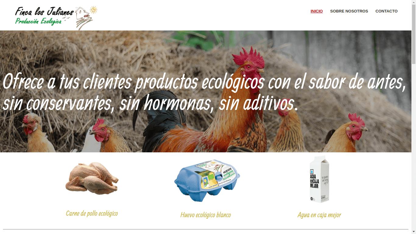 Pantallazo de la web de Finca Ecológica Los Julianes