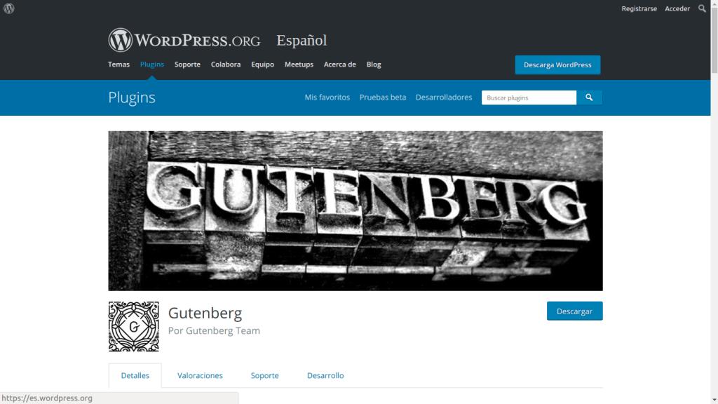 Captura de pantalla de wordpress.org - Gutenberg