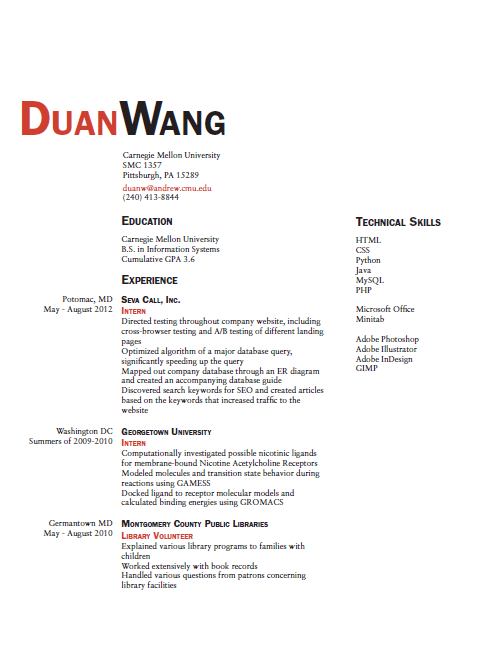 resume and business card first draft duan wang