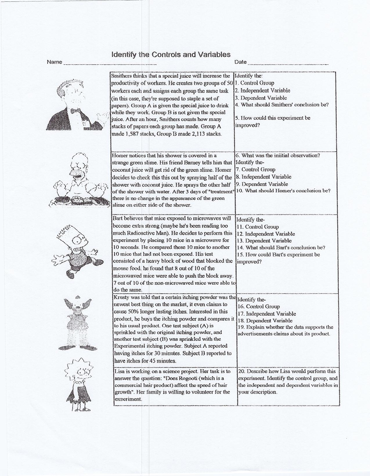 Scientific Method Spongebob Worksheet
