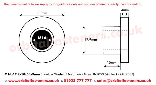 M16 X 17 9 X 10l X 30mm Nylon Shoulder Insulating Isolation Washer Grey Orbital Fasteners