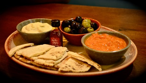 Appeteaser platter - dhs 49 - hummus, spicy mixed olives, red pepper dip