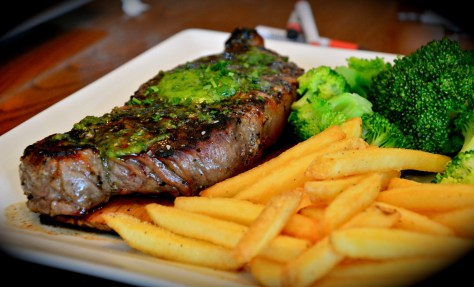 wood smoked steak - dhs 99 - flame grilled 12 oz new york strip smoked over apple - infused hickory wood