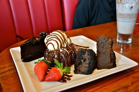 Chocolate Adventure Trio - dhs 59 - chocolate brownie, chocolate cake and molten lava cake served with vanilla ice cream
