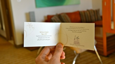 The welcome write up from the hotel making you feel special