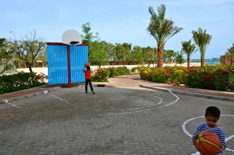 Basketball court at Beach at Danat Jebel Dhanna Resort
