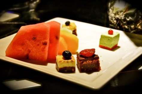 Fruits and desserts at Al Dhafrah Oasis private dinner