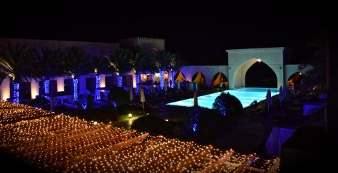 The pool view in the night from our private balcony at Tilal Liwa hotel