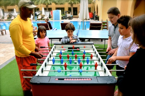 Complimentary foosball for guests at Tilal Liwa Hotel