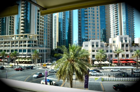 view of Downtown Dubai from the windows of our Deluxe room at Vida Downtown Dubai