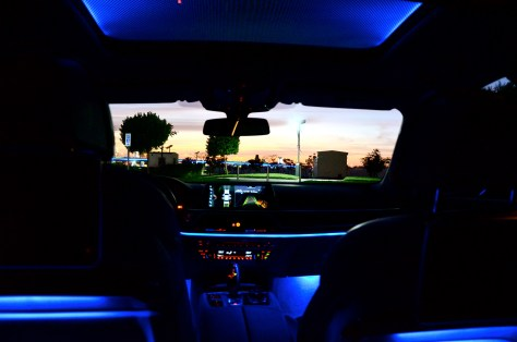 The Panorama glass roof Sky Lounge with light flooded interior inside the BMW 750 Li 2016