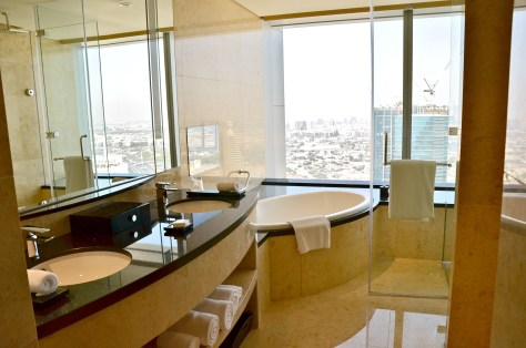 Spacious Marble bathroom at Conrad Dubai