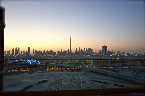 The views from the sky lounge terrace at Meydan Hotel
