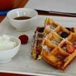 Waffles - dhs 45 - with Chocolate sauce | maple syrup | sweet cream | m acerate d strawberries