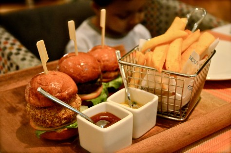 Epicure Mini Sliders Oriental spiced lamb burger with muhammara, crab burger with mango salsa, chicken burger, pickle, bbq sauce - dhs 45