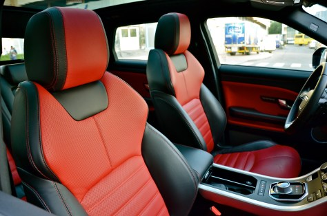 Range Rover Evoque features twin-stitch leather seats, Ebony/Pimento Perforated Oxford Leather Seats with Ebony Pimento Interior and Ebony Carpet