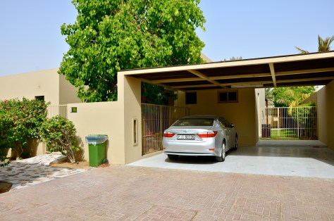 Our car parked in the private parking of our Pool Residence villa