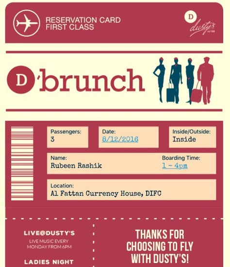 Reservation confirmation - Dusty's Departure Brunch