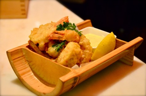 Wasabi Prawn Tempura - AED 85 - Tempura butteed giant prawns with wasabi coating