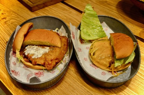 BUTTERMILK FRIED-CHICKEN BURGER and Wagyu beef Cheese burger