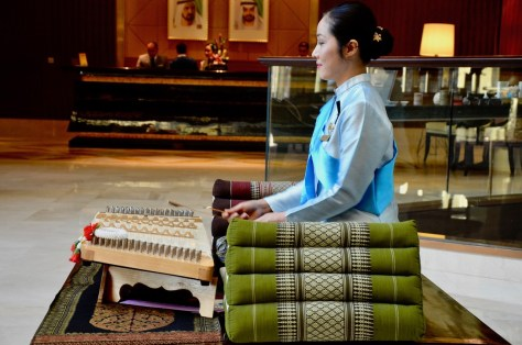 Traditional Thai Music being played at the Dusit Thani lobby