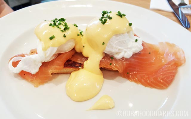 Smoked salmon benedict at Clinton Street Baking Company Dubai