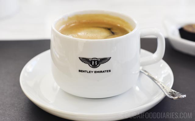 Colombian coffee at Bentley Cafe in Dubai Marina