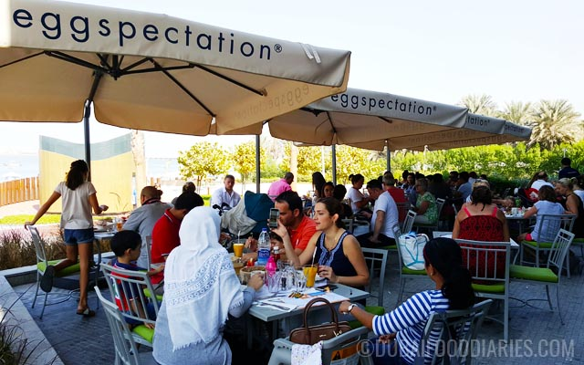 Terrace seating at Eggspectation at The Beach Dubai JBR