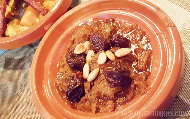 Beef and prune tagine at Kif Kif Dubai Marina