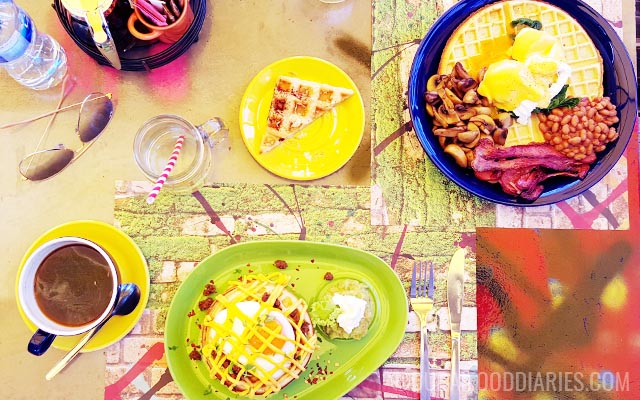 Breakfast waffles and coffee at No 3 Boxpark Dubai