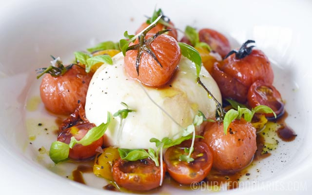 Burrata and tomatoes at Per Te restaurant Jumeirah 1 Dubai