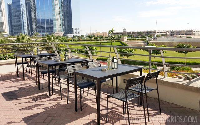 Outdoor seating at Mantoushe at Cluster P Jumeirah Lake Towers Dubai