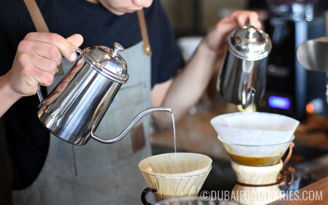 Making filter coffee at Stomping Grounds Coffee Hub Jumeirah 1 Dubai