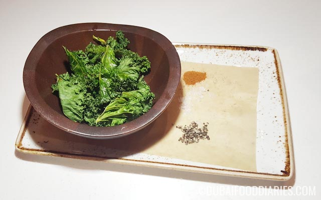 Kale chips at Skye and Walker Marriott Executive Apartments Deira Dubai
