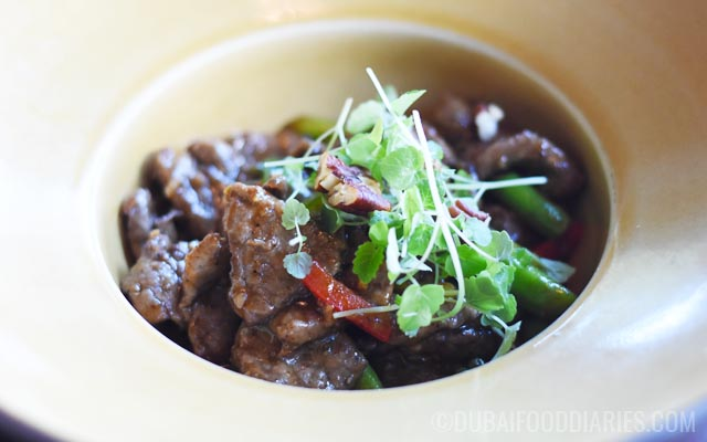 Stir-fried Wagyu beef at Thiptara The Palace Downtown Dubai