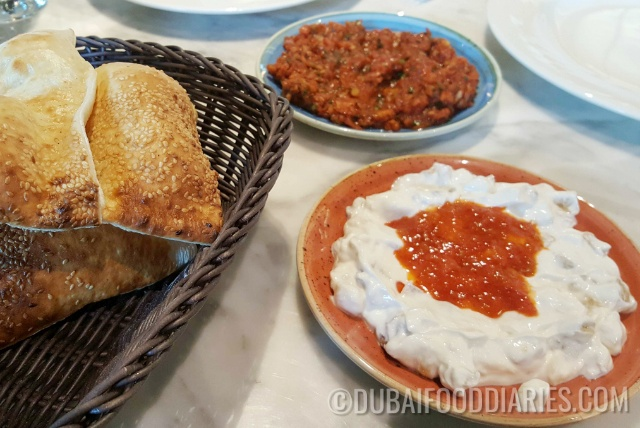 Cold mezze and Turkish bread at Gunaydin, Souk al Bahar, Downtown Dubai