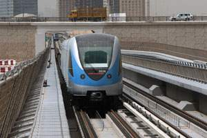 A Metro train parked at Jebel Ali station in Dubai.
