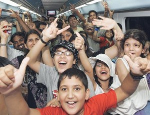 Hordes of people were eager to try out the newly-launched Metro. Carriages were packed at the Mall of the Emirates station as families tested out the high-tech trains. Many said the service was impressive.